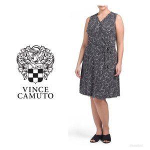 Vince Camuto Black White Wrap Dress Plus Sz 3X NWT